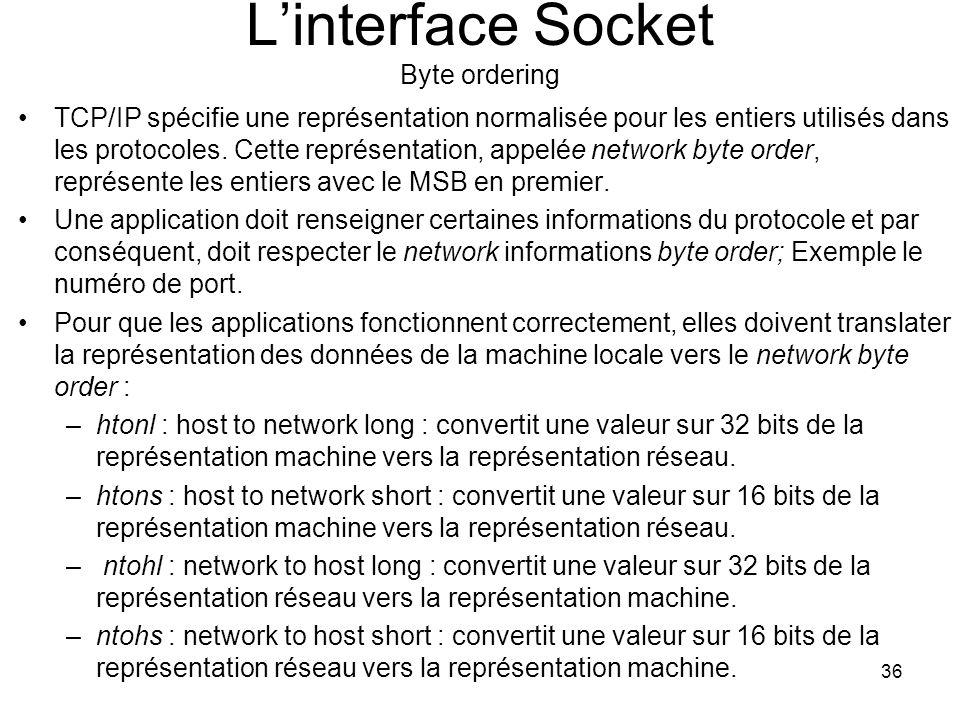 36 Linterface Socket Byte ordering TCP/IP spécifie une représentation normalisée pour les entiers utilisés dans les protocoles.
