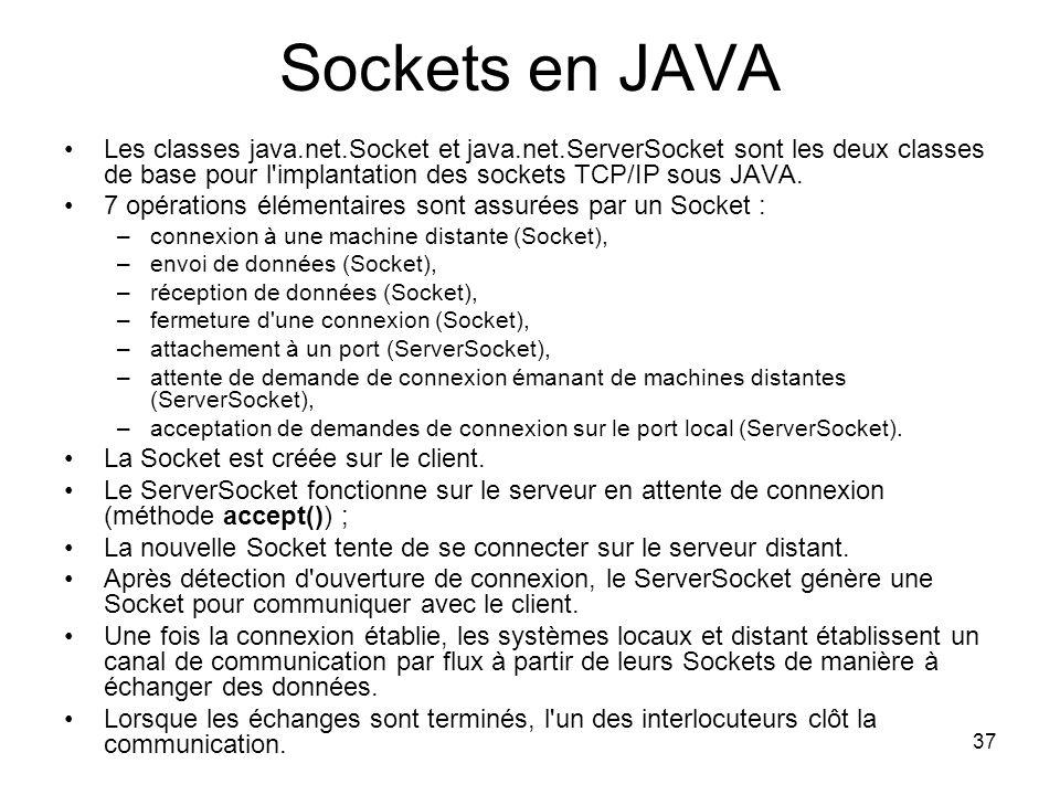 37 Sockets en JAVA Les classes java.net.Socket et java.net.ServerSocket sont les deux classes de base pour l implantation des sockets TCP/IP sous JAVA.
