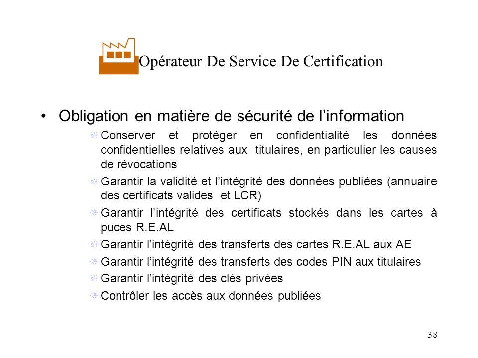38 Opérateur De Service De Certification Obligation en matière de sécurité de linformation Conserver et protéger en confidentialité les données confid
