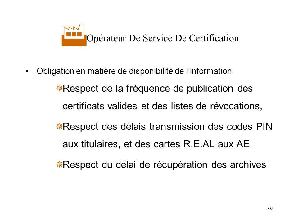 39 Opérateur De Service De Certification Obligation en matière de disponibilité de linformation Respect de la fréquence de publication des certificats