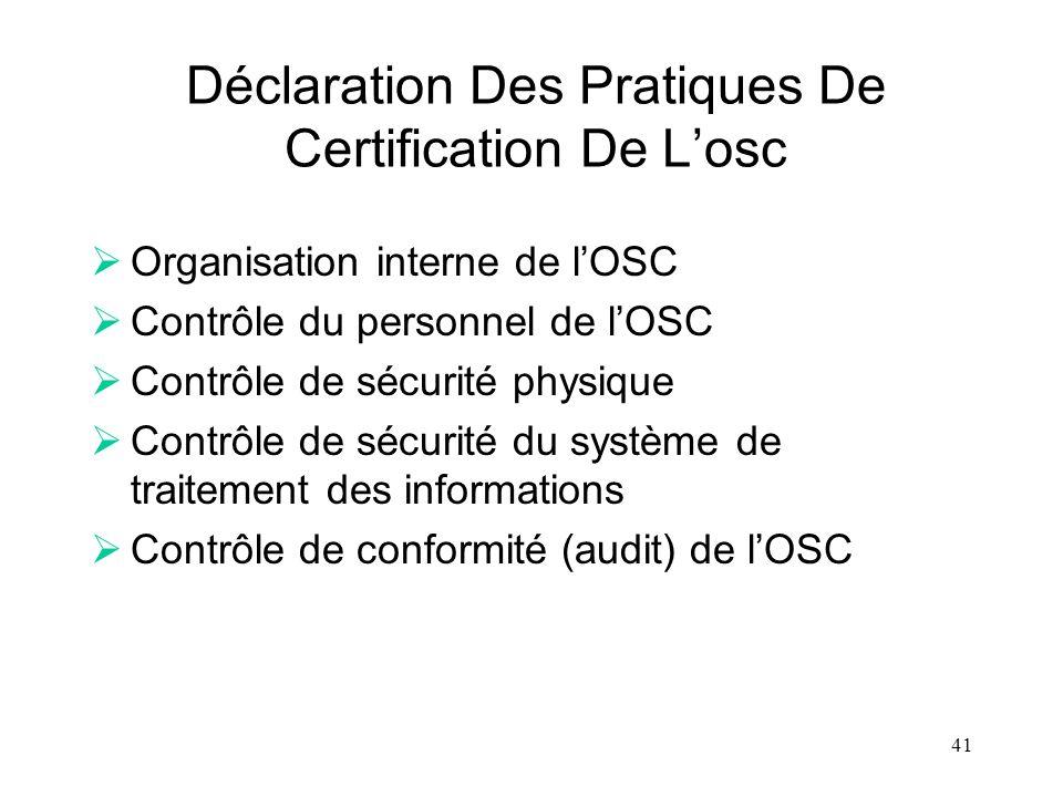 41 Déclaration Des Pratiques De Certification De Losc Organisation interne de lOSC Contrôle du personnel de lOSC Contrôle de sécurité physique Contrôl