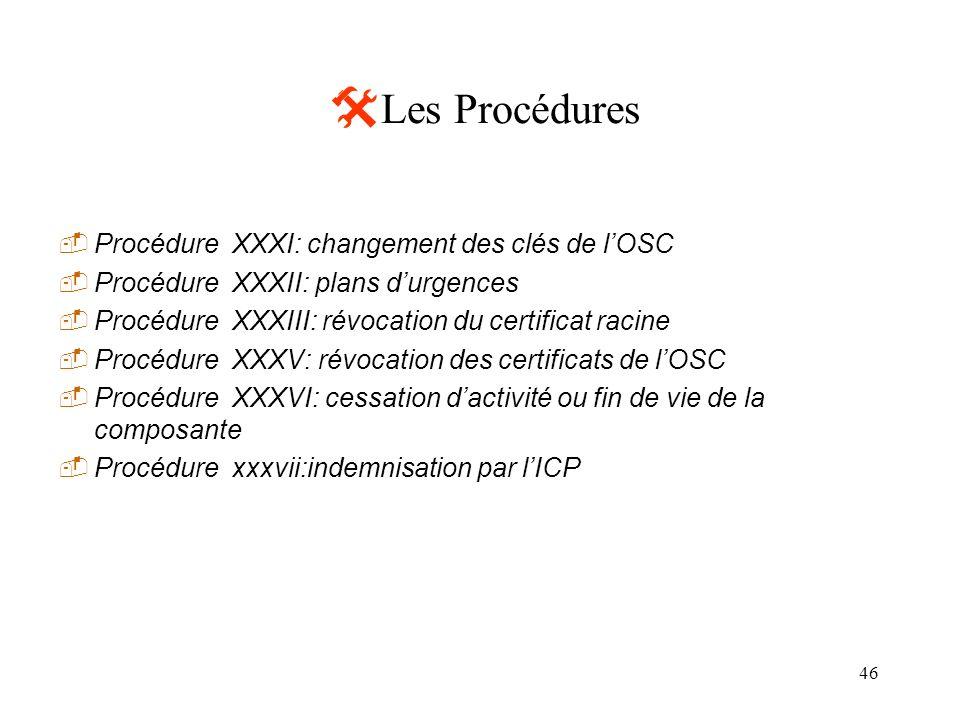 46 Les Procédures Procédure XXXI: changement des clés de lOSC Procédure XXXII: plans durgences Procédure XXXIII: révocation du certificat racine Procé