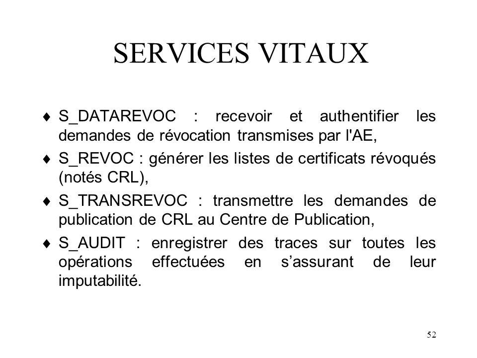 52 SERVICES VITAUX S_DATAREVOC : recevoir et authentifier les demandes de révocation transmises par l'AE, S_REVOC : générer les listes de certificats