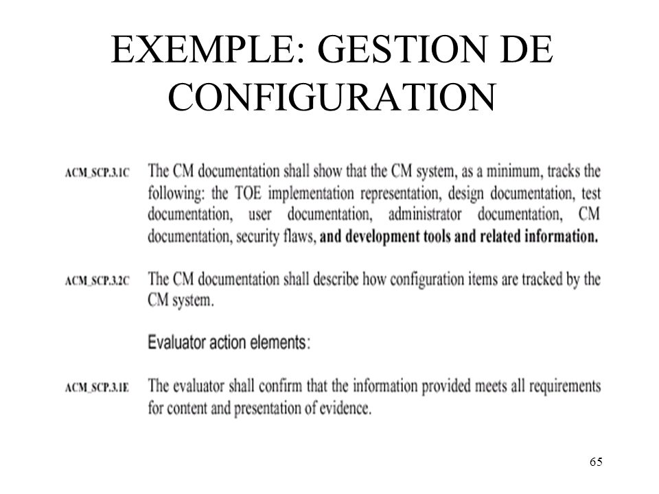 65 EXEMPLE: GESTION DE CONFIGURATION