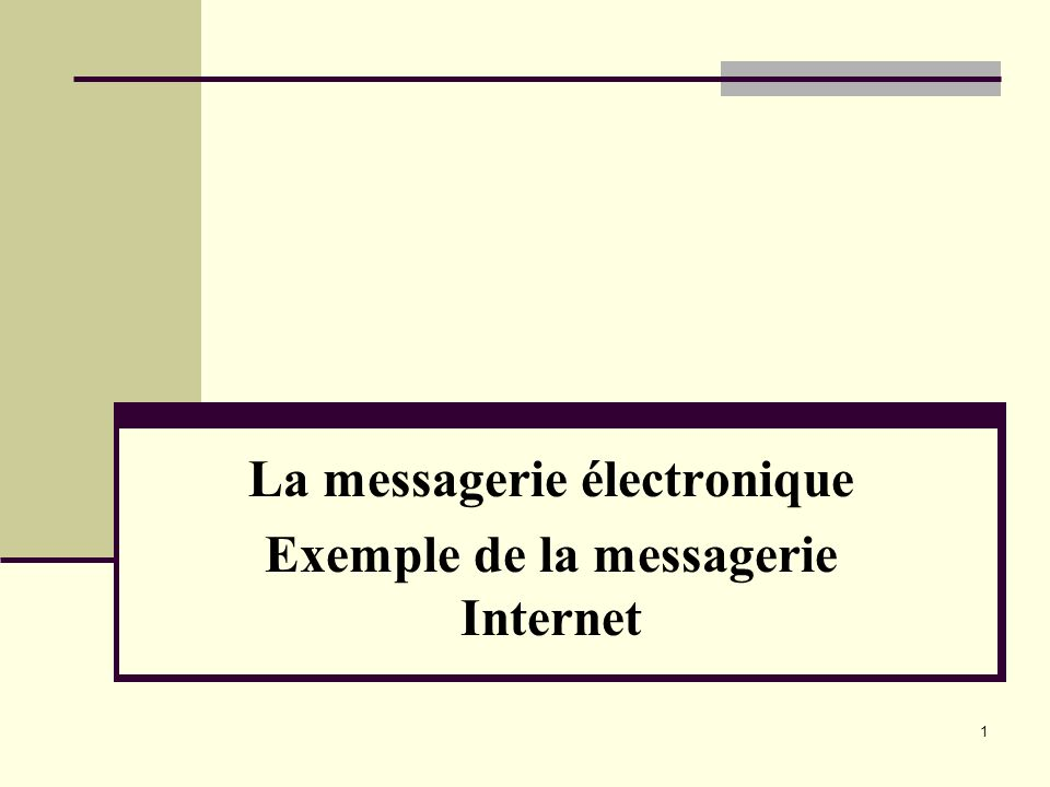 1 La messagerie électronique Exemple de la messagerie Internet