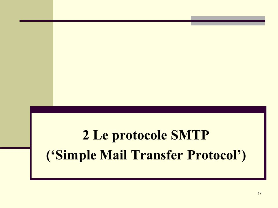 17 2 Le protocole SMTP (Simple Mail Transfer Protocol)