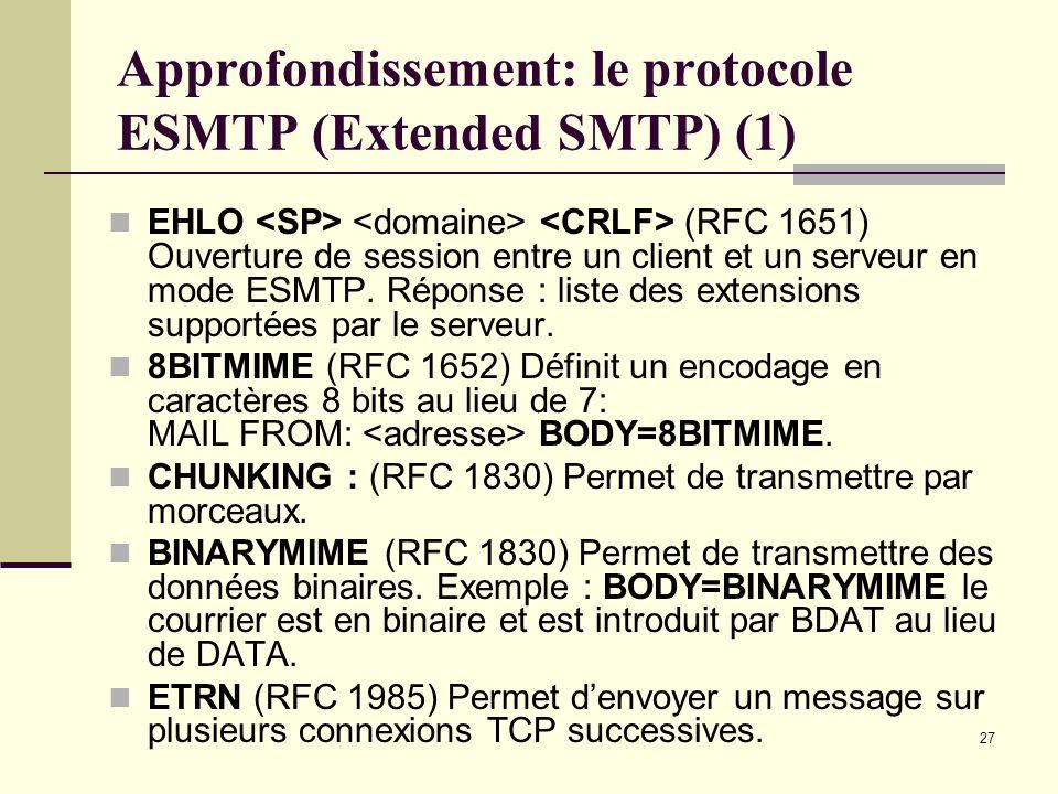 27 Approfondissement: le protocole ESMTP (Extended SMTP) (1) EHLO (RFC 1651) Ouverture de session entre un client et un serveur en mode ESMTP. Réponse