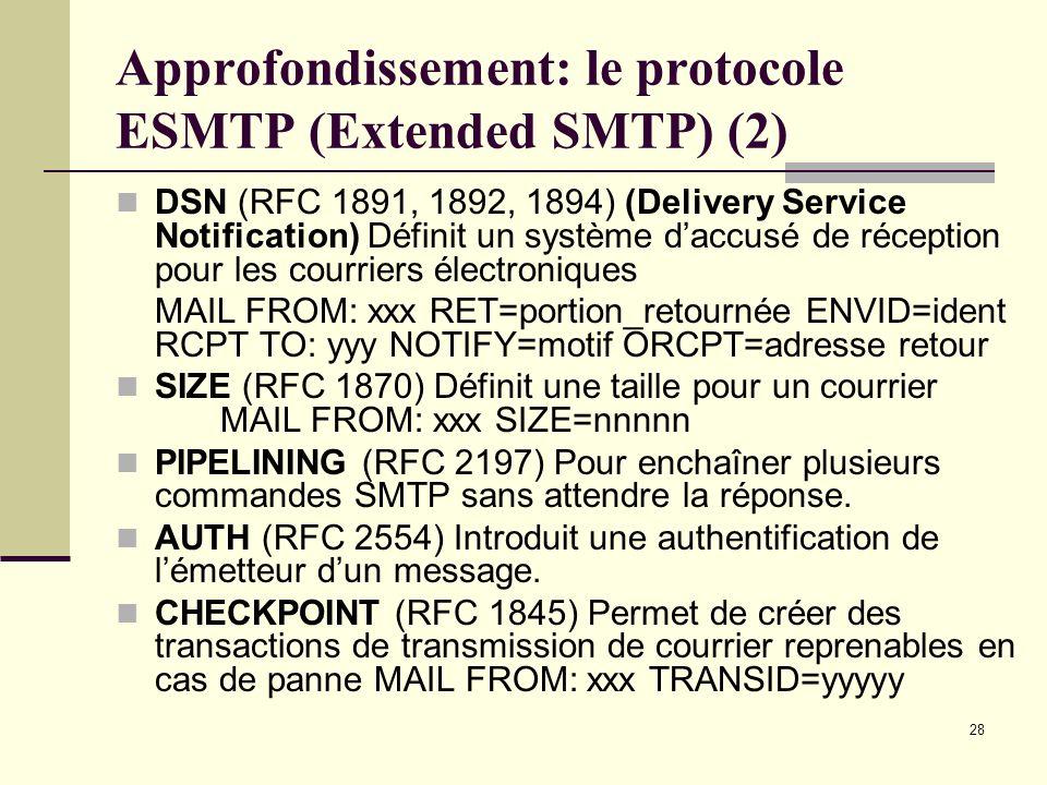 28 Approfondissement: le protocole ESMTP (Extended SMTP) (2) DSN (RFC 1891, 1892, 1894) (Delivery Service Notification) Définit un système daccusé de