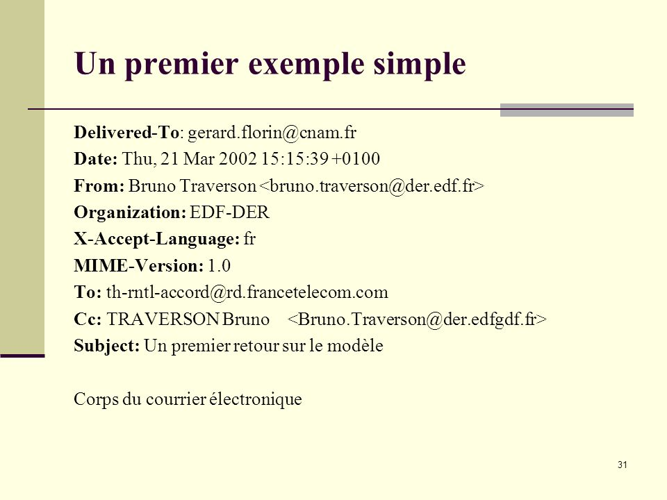 31 Un premier exemple simple Delivered-To: gerard.florin@cnam.fr Date: Thu, 21 Mar 2002 15:15:39 +0100 From: Bruno Traverson Organization: EDF-DER X-A