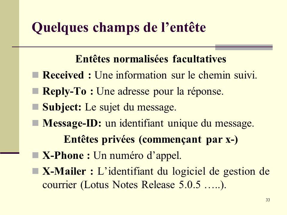 33 Quelques champs de lentête Entêtes normalisées facultatives Received : Une information sur le chemin suivi. Reply-To : Une adresse pour la réponse.