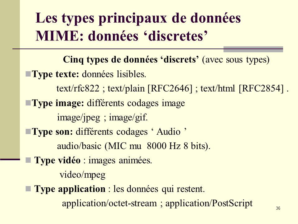 36 Les types principaux de données MIME: données discretes Cinq types de données discrets (avec sous types) Type texte: données lisibles. text/rfc822