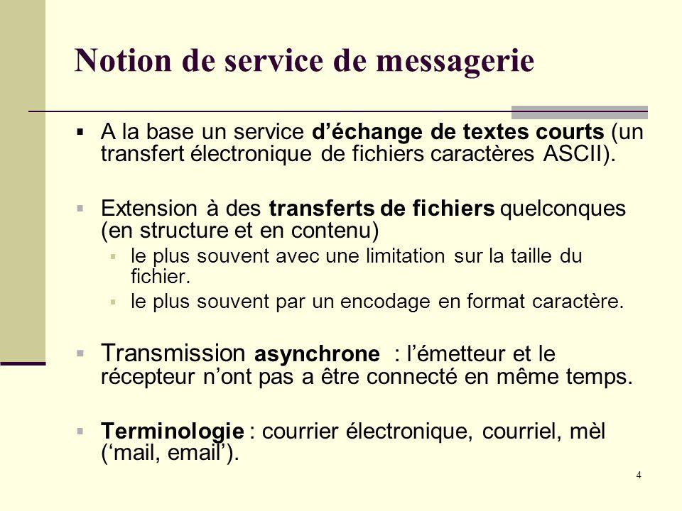 4 Notion de service de messagerie A la base un service déchange de textes courts (un transfert électronique de fichiers caractères ASCII). Extension à
