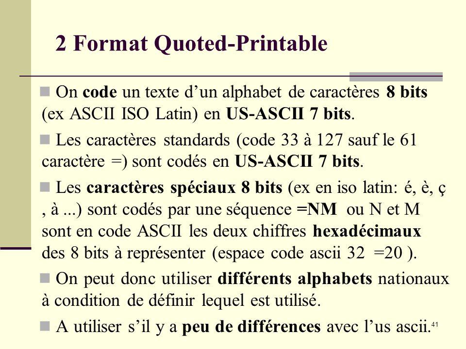 41 2 Format Quoted-Printable On code un texte dun alphabet de caractères 8 bits (ex ASCII ISO Latin) en US-ASCII 7 bits. Les caractères standards (cod