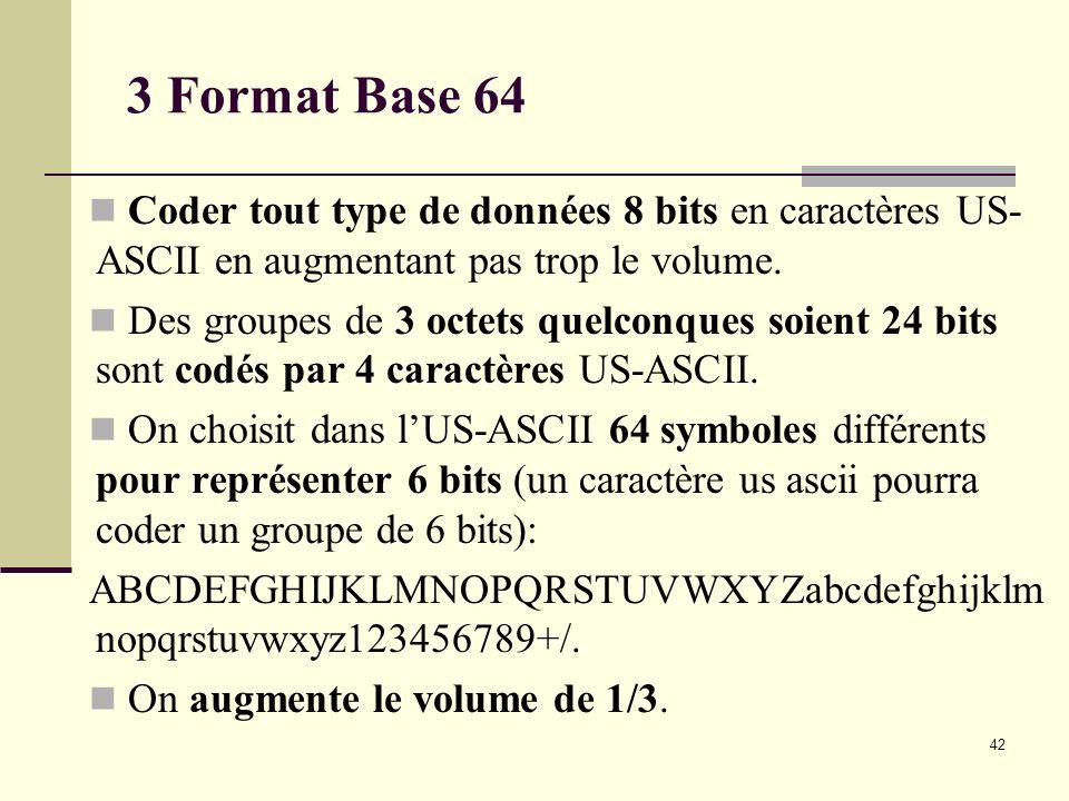 42 3 Format Base 64 Coder tout type de données 8 bits en caractères US- ASCII en augmentant pas trop le volume. Des groupes de 3 octets quelconques so
