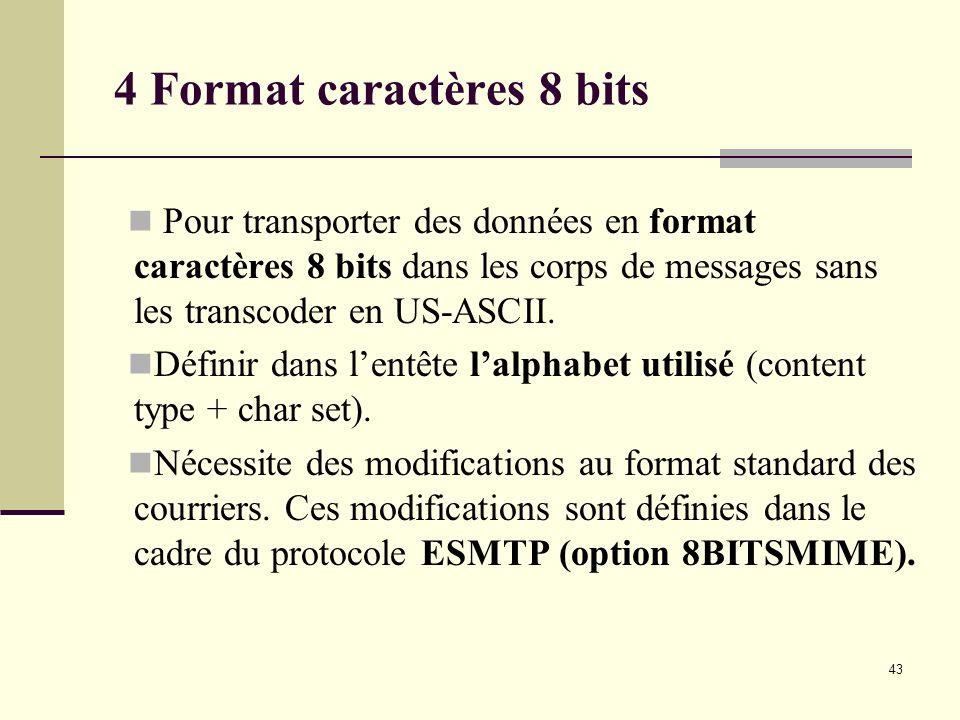 43 4 Format caractères 8 bits Pour transporter des données en format caractères 8 bits dans les corps de messages sans les transcoder en US-ASCII. Déf