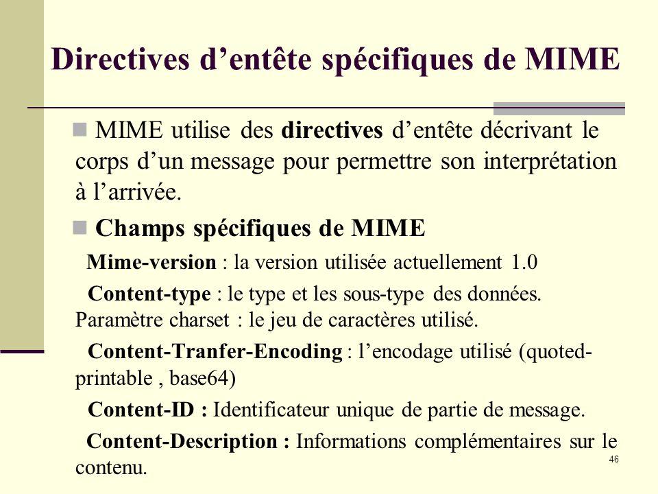 46 Directives dentête spécifiques de MIME MIME utilise des directives dentête décrivant le corps dun message pour permettre son interprétation à larri