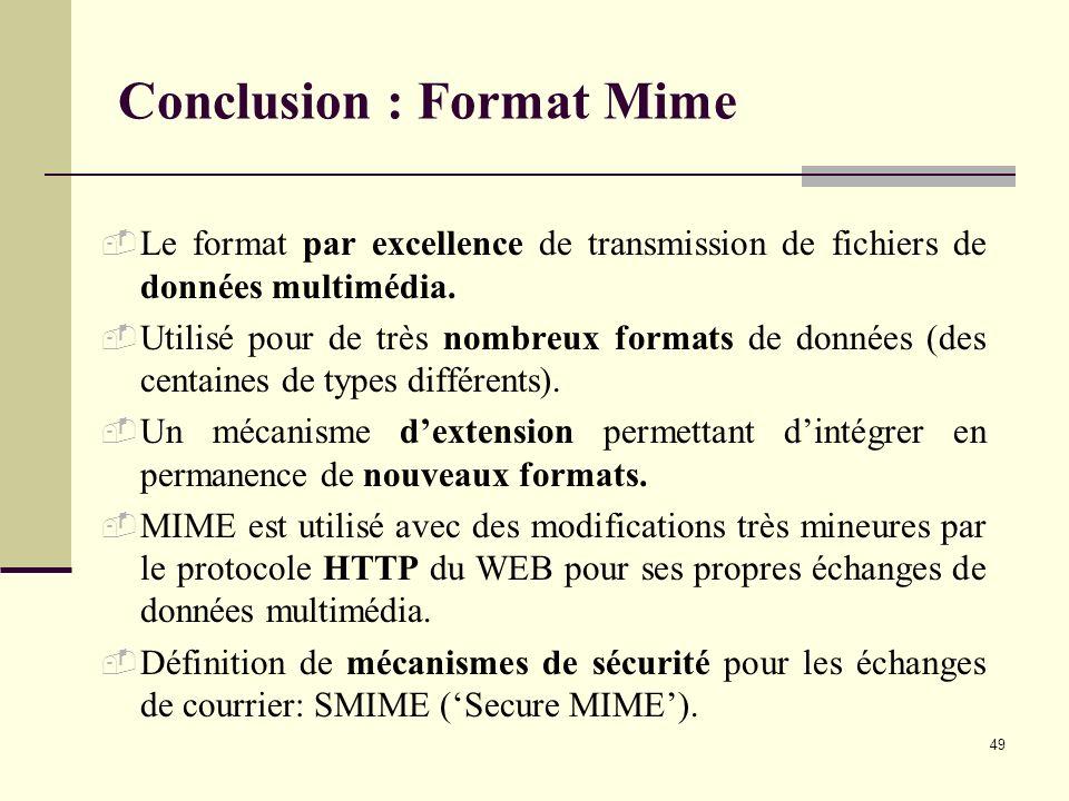 49 Conclusion : Format Mime Le format par excellence de transmission de fichiers de données multimédia. Utilisé pour de très nombreux formats de donné