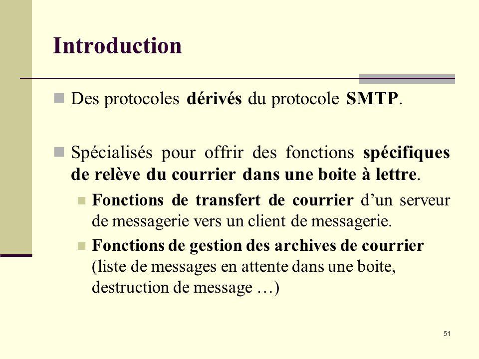 51 Introduction Des protocoles dérivés du protocole SMTP. Spécialisés pour offrir des fonctions spécifiques de relève du courrier dans une boite à let