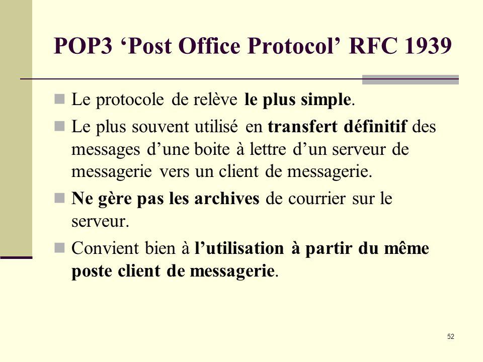 52 POP3 Post Office Protocol RFC 1939 Le protocole de relève le plus simple. Le plus souvent utilisé en transfert définitif des messages dune boite à