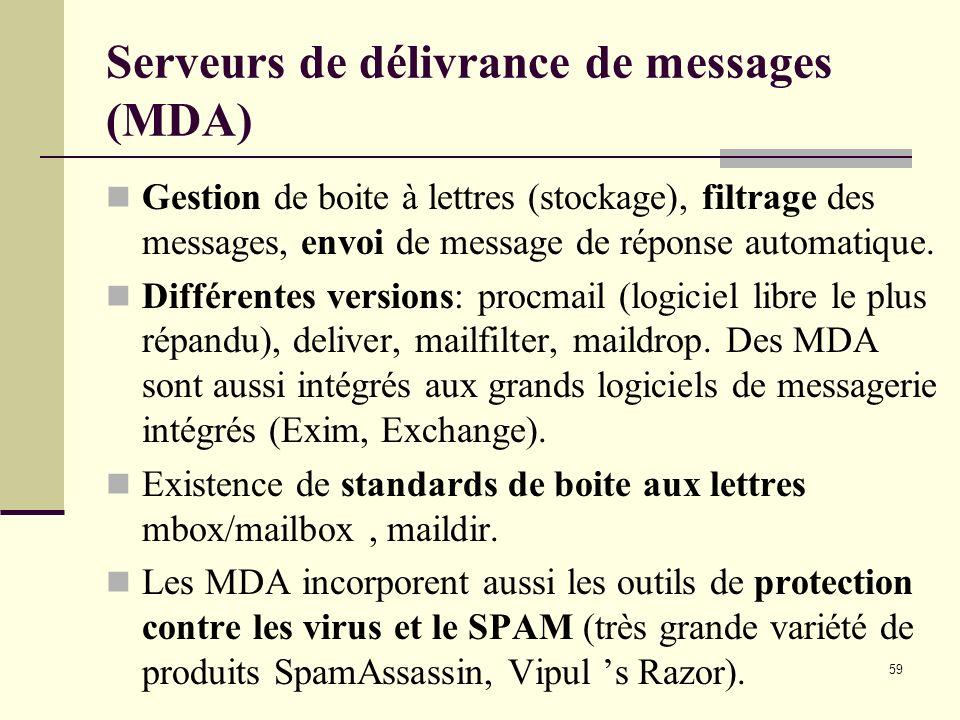 59 Serveurs de délivrance de messages (MDA) Gestion de boite à lettres (stockage), filtrage des messages, envoi de message de réponse automatique. Dif