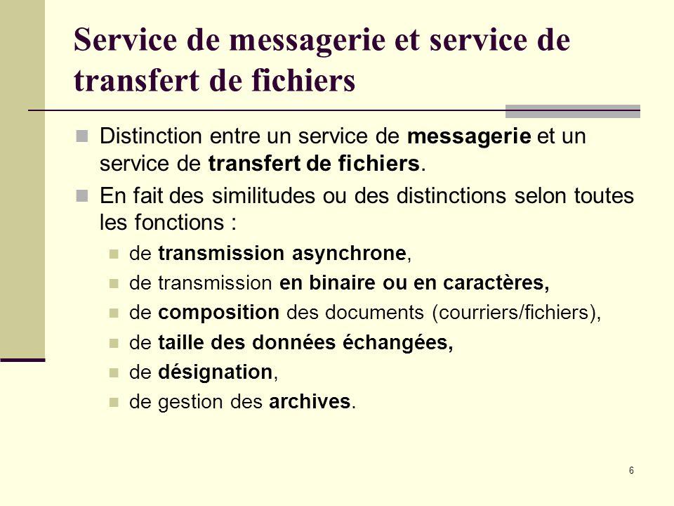 6 Service de messagerie et service de transfert de fichiers Distinction entre un service de messagerie et un service de transfert de fichiers. En fait