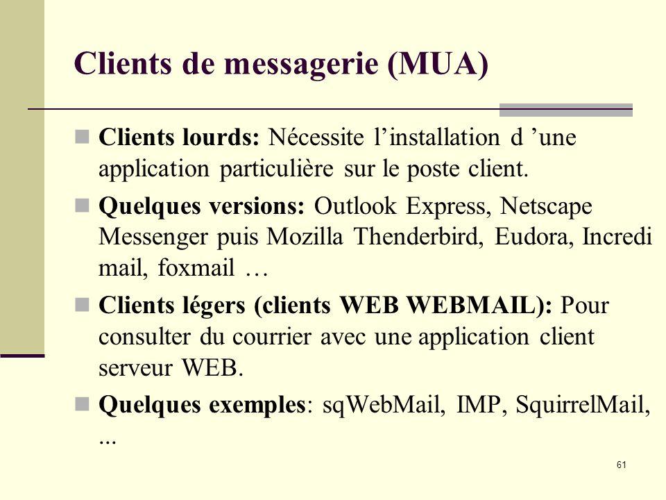 61 Clients de messagerie (MUA) Clients lourds: Nécessite linstallation d une application particulière sur le poste client. Quelques versions: Outlook