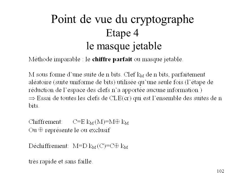 102 Point de vue du cryptographe Etape 4 le masque jetable