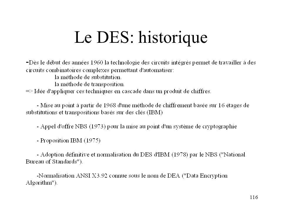 116 Le DES: historique