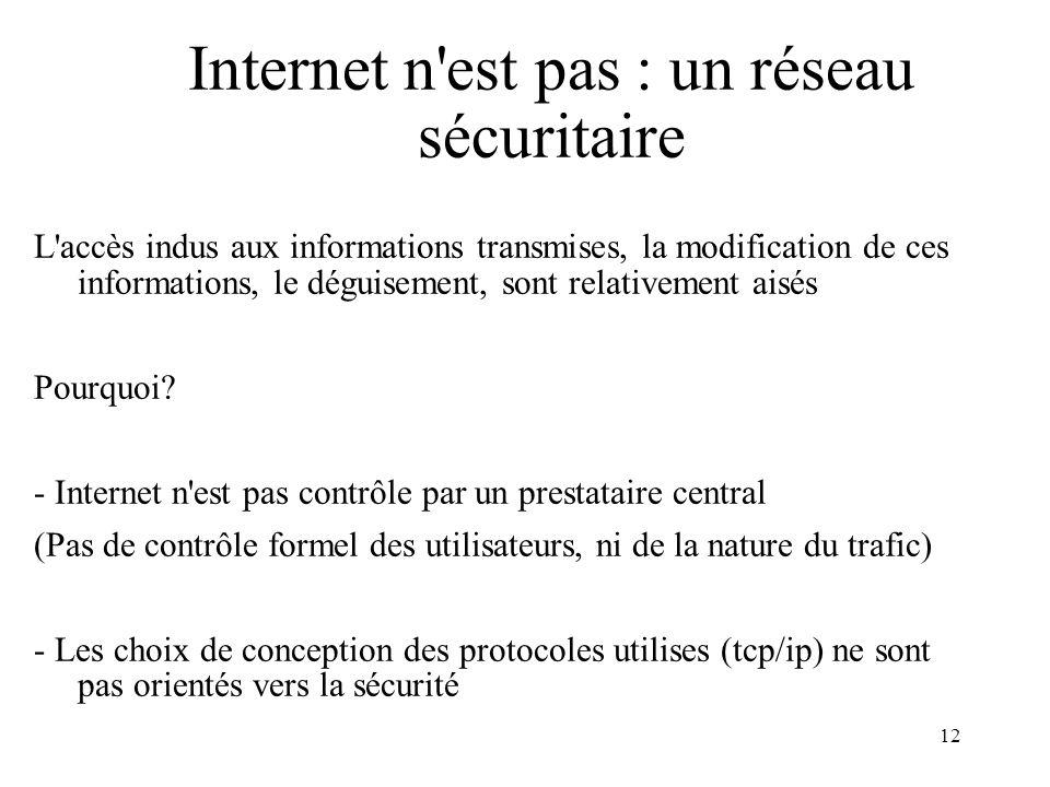 12 Internet n'est pas : un réseau sécuritaire L'accès indus aux informations transmises, la modification de ces informations, le déguisement, sont rel