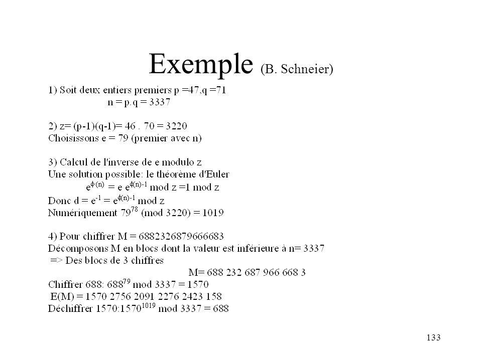 133 Exemple (B. Schneier)