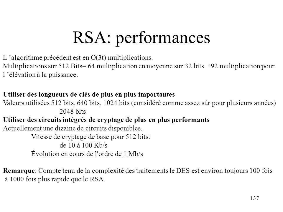 137 RSA: performances L algorithme précédent est en O(3t) multiplications. Multiplications sur 512 Bits= 64 multiplication en moyenne sur 32 bits. 192