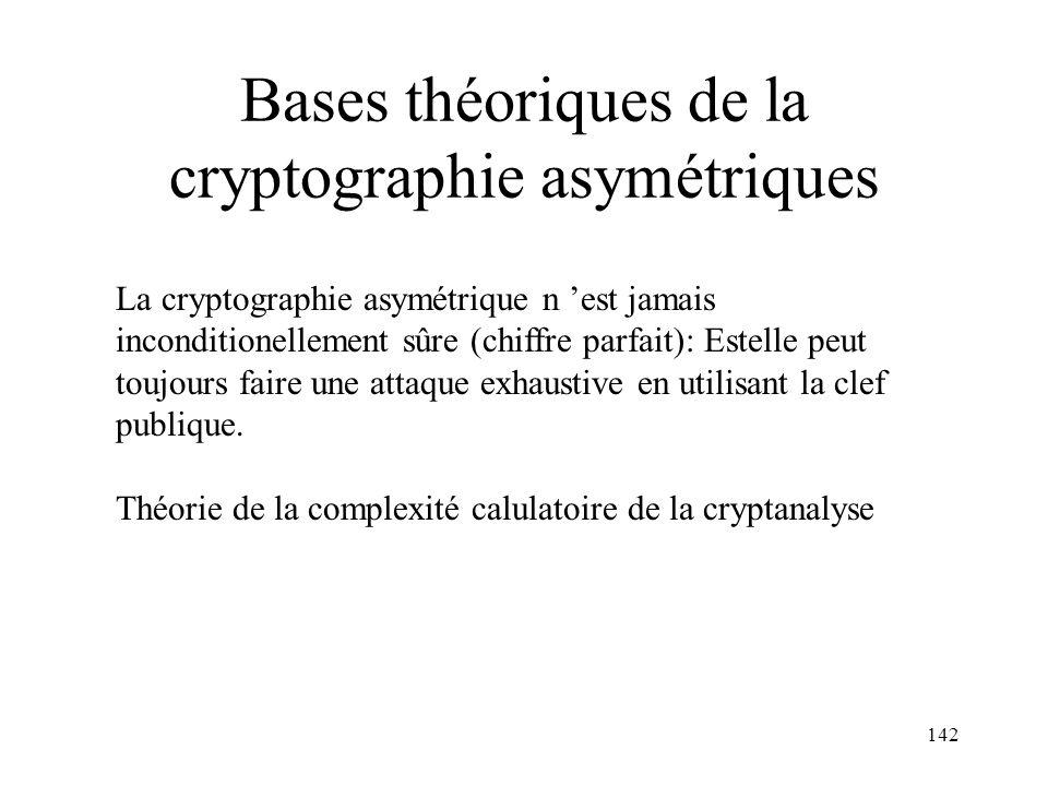 142 Bases théoriques de la cryptographie asymétriques La cryptographie asymétrique n est jamais inconditionellement sûre (chiffre parfait): Estelle pe