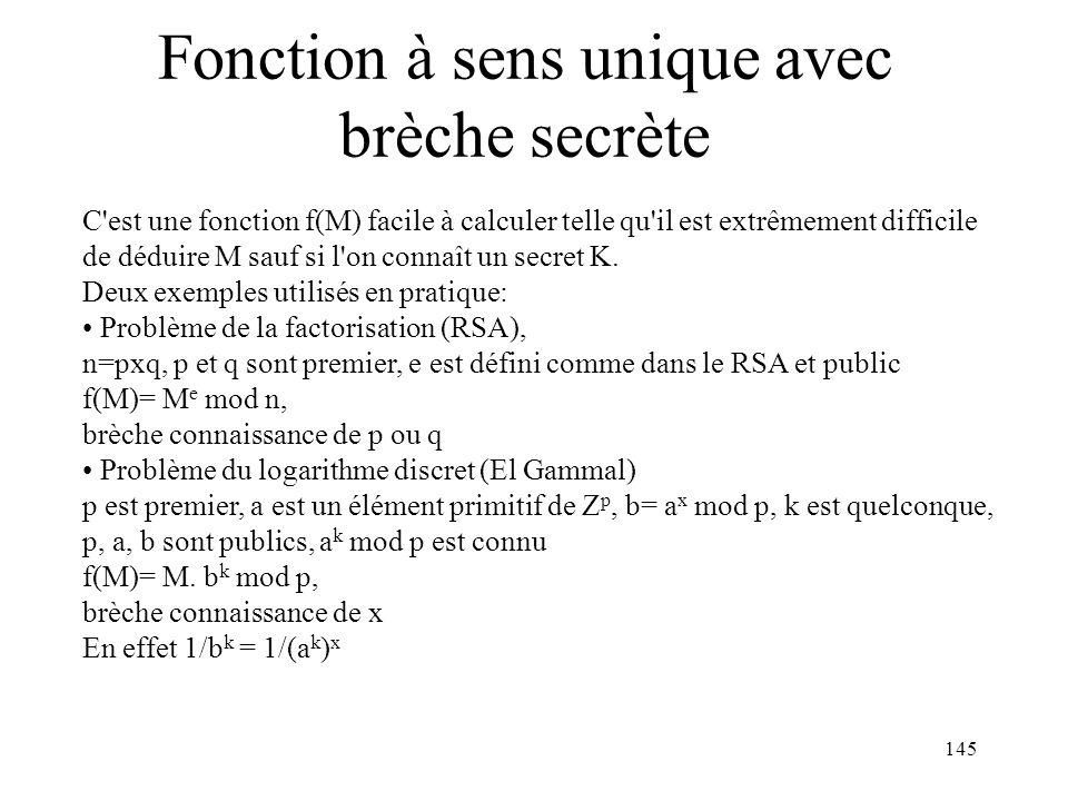 145 Fonction à sens unique avec brèche secrète C'est une fonction f(M) facile à calculer telle qu'il est extrêmement difficile de déduire M sauf si l'