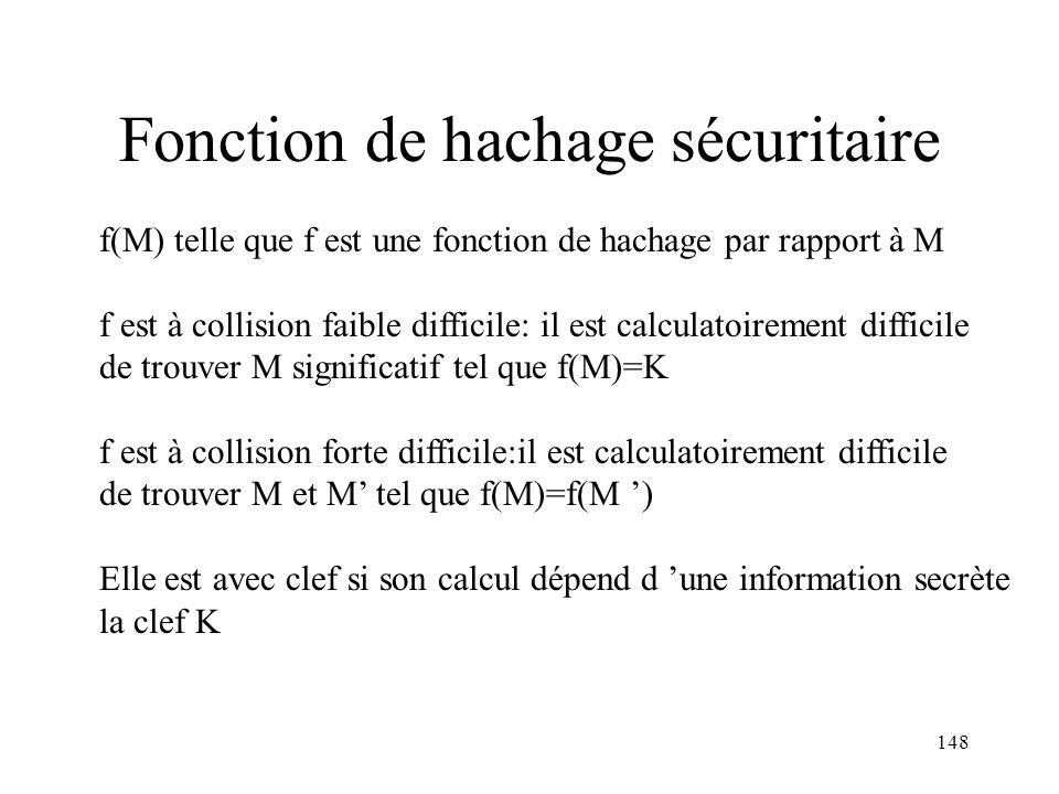 148 Fonction de hachage sécuritaire f(M) telle que f est une fonction de hachage par rapport à M f est à collision faible difficile: il est calculatoi