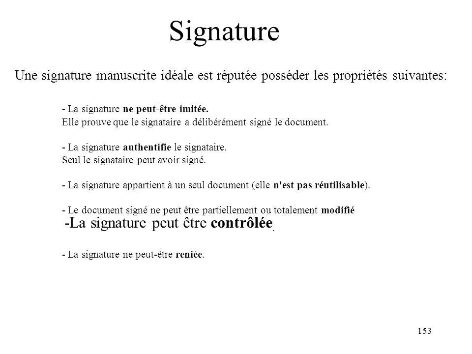 153 Signature Une signature manuscrite idéale est réputée posséder les propriétés suivantes: - La signature ne peut-être imitée. Elle prouve que le si