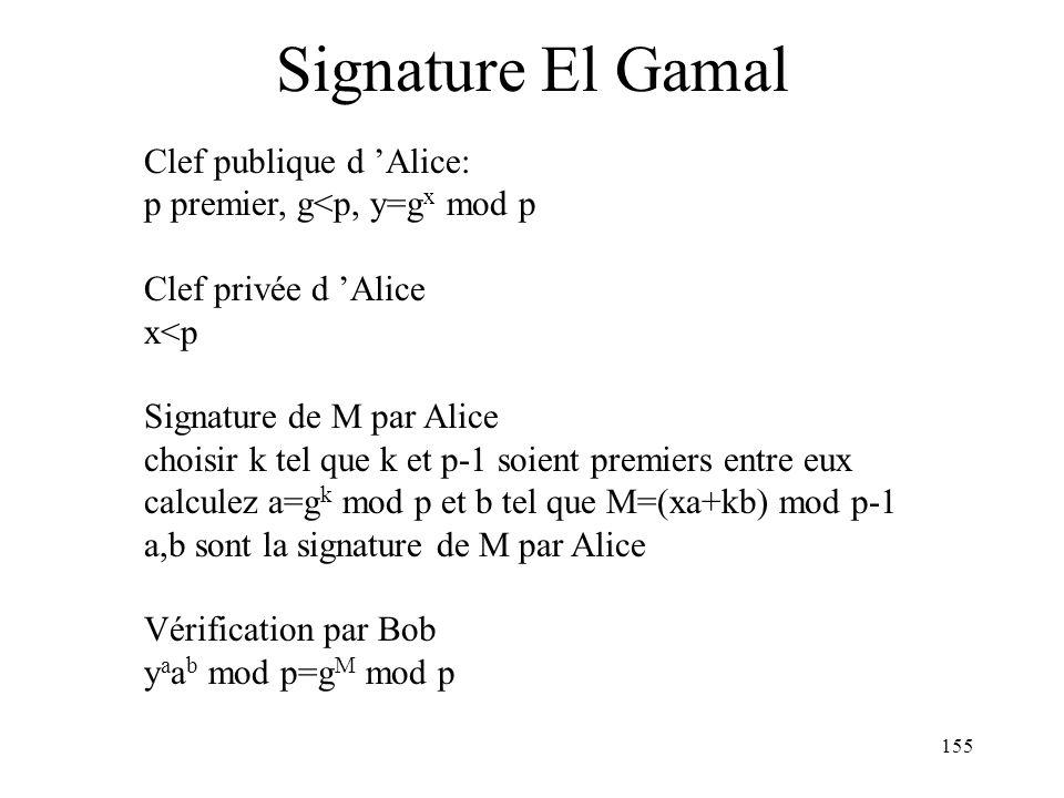 155 Signature El Gamal Clef publique d Alice: p premier, g<p, y=g x mod p Clef privée d Alice x<p Signature de M par Alice choisir k tel que k et p-1