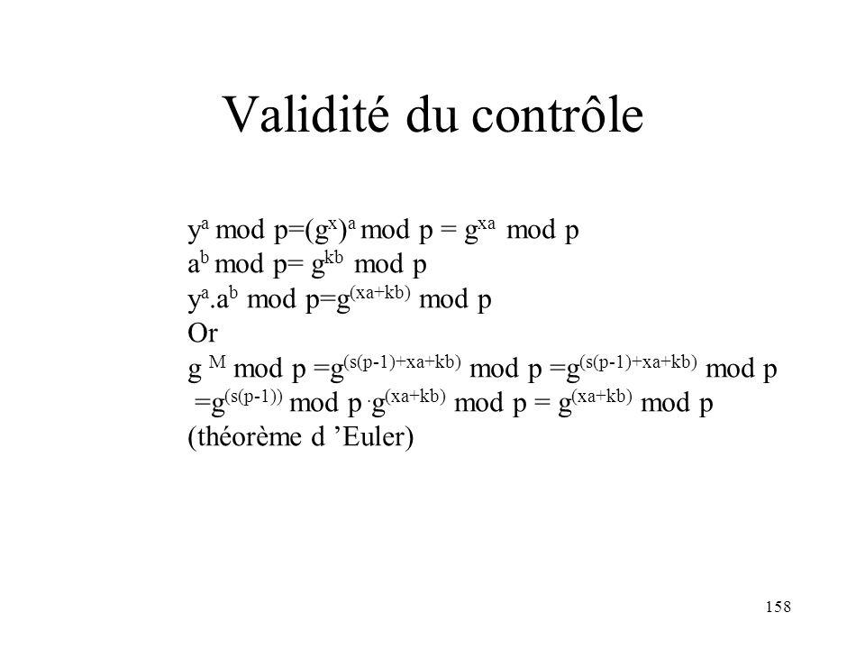 158 Validité du contrôle y a mod p=(g x ) a mod p = g xa mod p a b mod p= g kb mod p y a.a b mod p=g (xa+kb) mod p Or g M mod p =g (s(p-1)+xa+kb) mod
