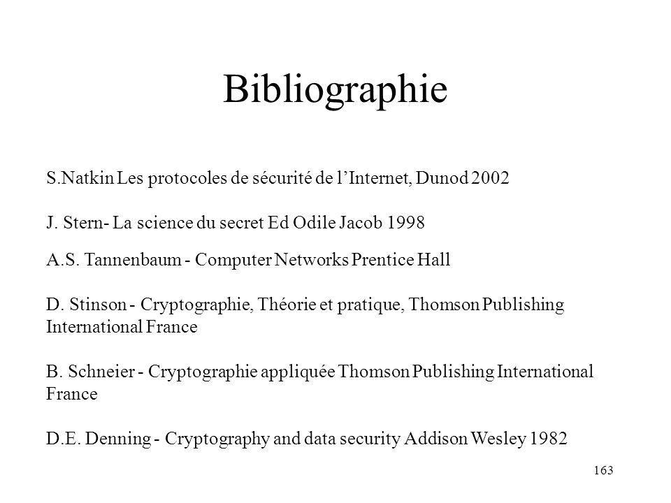163 Bibliographie S.Natkin Les protocoles de sécurité de lInternet, Dunod 2002 J. Stern- La science du secret Ed Odile Jacob 1998 A.S. Tannenbaum - Co