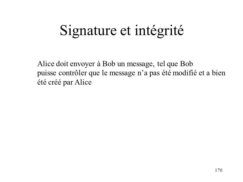 176 Signature et intégrité Alice doit envoyer à Bob un message, tel que Bob puisse contrôler que le message na pas été modifié et a bien été créé par