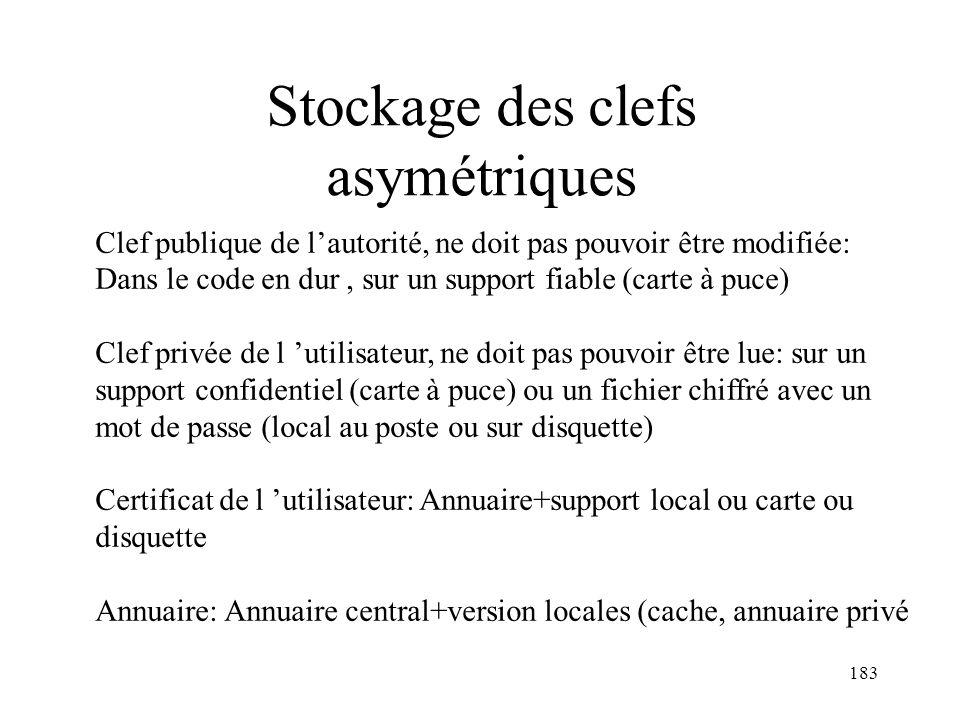 183 Stockage des clefs asymétriques Clef publique de lautorité, ne doit pas pouvoir être modifiée: Dans le code en dur, sur un support fiable (carte à