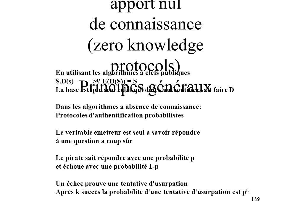 189 L Authentification à apport nul de connaissance (zero knowledge protocols) Principes généraux En utilisant les algorithmes a clefs publiques S,D(s