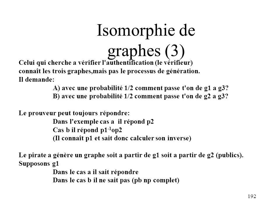 192 Isomorphie de graphes (3) Celui qui cherche a vérifier l'authentification (le vérifieur) connaît les trois graphes,mais pas le processus de généra