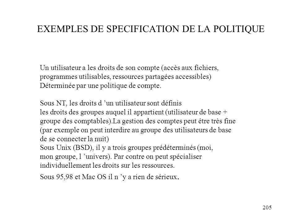 205 EXEMPLES DE SPECIFICATION DE LA POLITIQUE Un utilisateur a les droits de son compte (accès aux fichiers, programmes utilisables, ressources partag