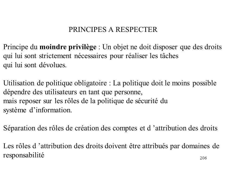 206 PRINCIPES A RESPECTER Principe du moindre privilège : Un objet ne doit disposer que des droits qui lui sont strictement nécessaires pour réaliser