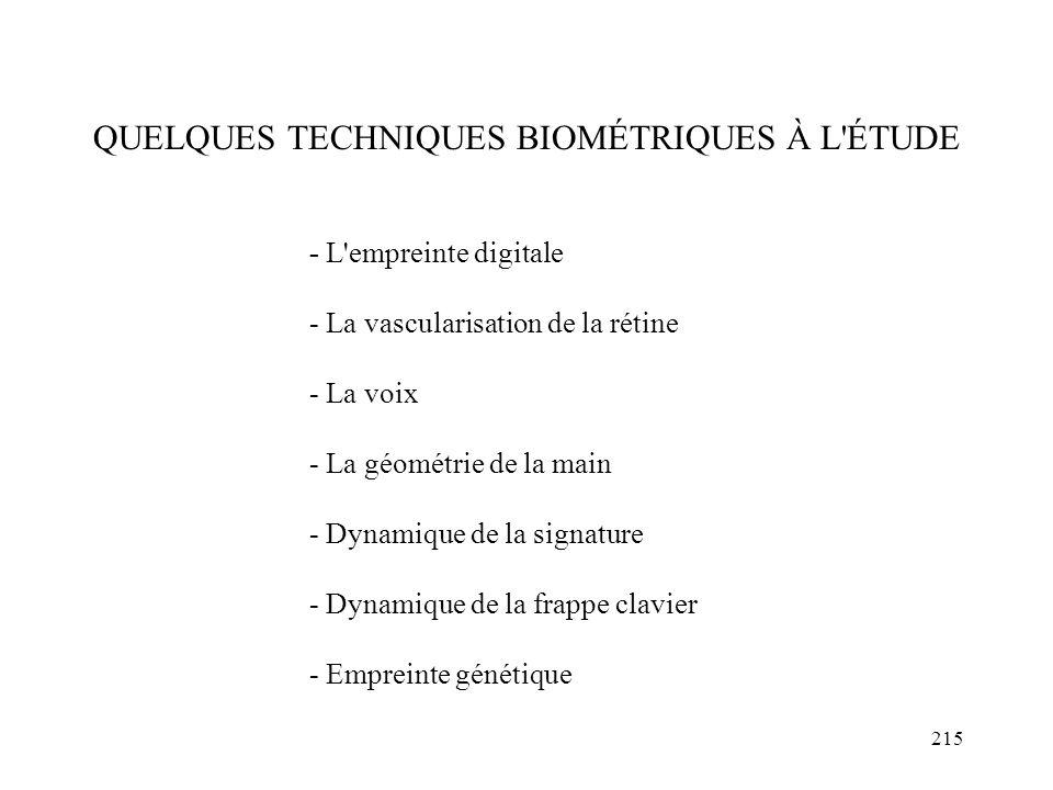 215 QUELQUES TECHNIQUES BIOMÉTRIQUES À L'ÉTUDE - L'empreinte digitale - La vascularisation de la rétine - La voix - La géométrie de la main - Dynamiqu