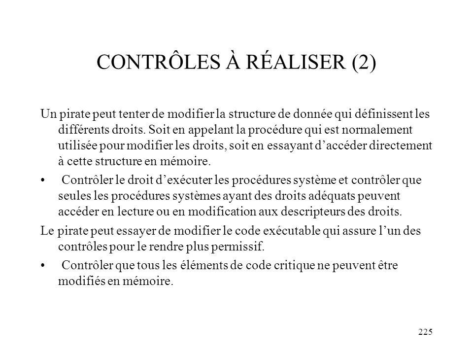 225 CONTRÔLES À RÉALISER (2) Un pirate peut tenter de modifier la structure de donnée qui définissent les différents droits. Soit en appelant la procé