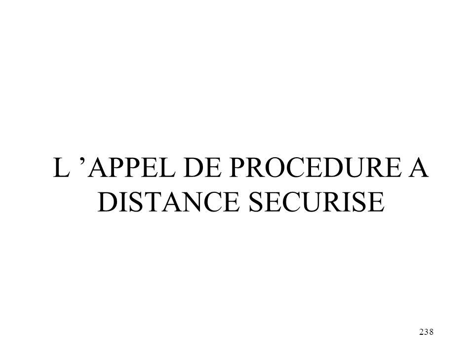 238 L APPEL DE PROCEDURE A DISTANCE SECURISE