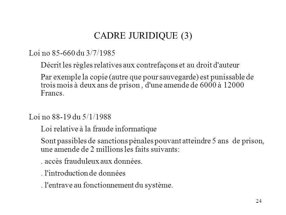 24 CADRE JURIDIQUE (3) Loi no 85-660 du 3/7/1985 Décrit les règles relatives aux contrefaçons et au droit d'auteur Par exemple la copie (autre que pou