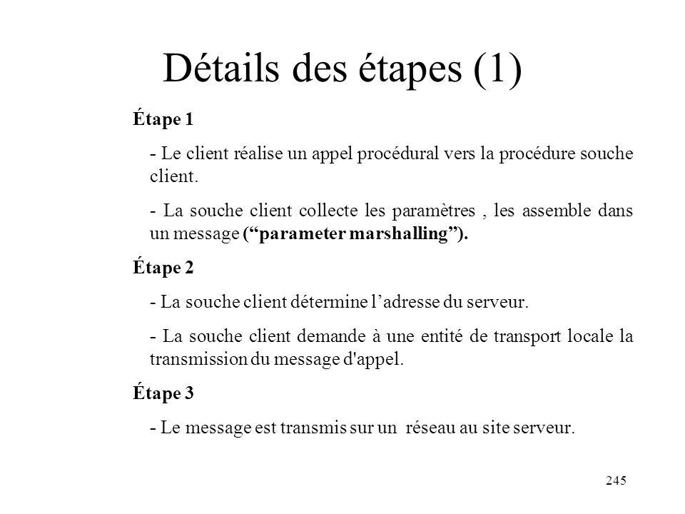 245 Détails des étapes (1) Étape 1 - Le client réalise un appel procédural vers la procédure souche client. - La souche client collecte les paramètres