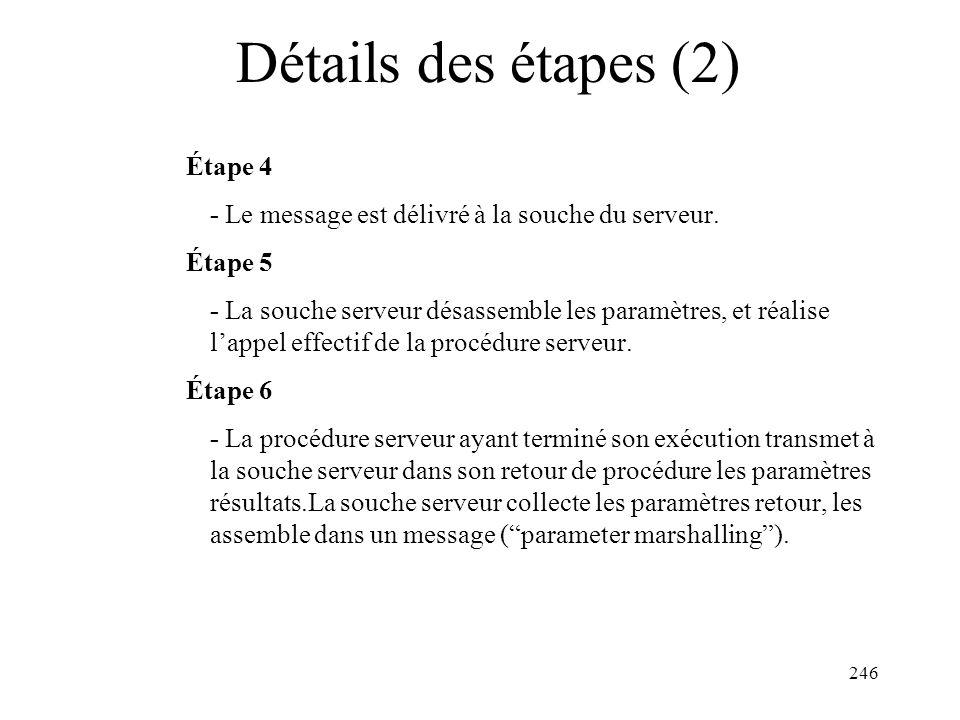 246 Détails des étapes (2) Étape 4 - Le message est délivré à la souche du serveur. Étape 5 - La souche serveur désassemble les paramètres, et réalise